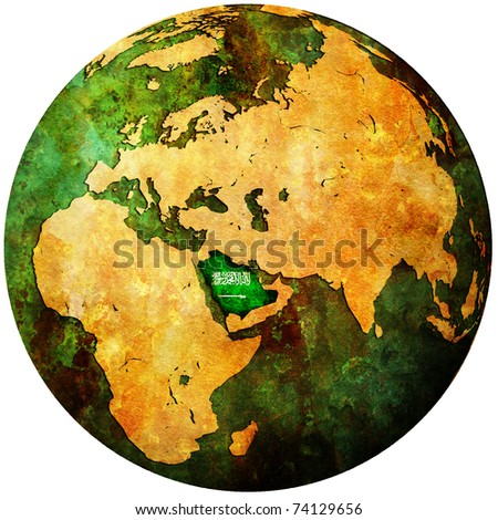 saudi arabia territory with flag on map of globe