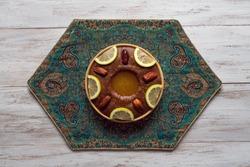 Saudi Arabia traditional dish Hineni, it is a mixed of dates and whole wheat. Ramadan food.