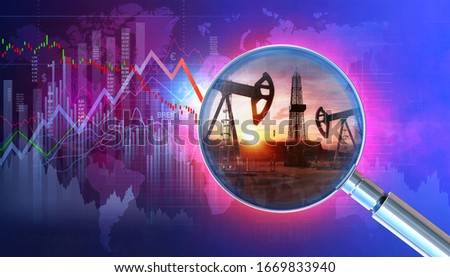 Saudi Arabia vs Russia oil price war concept. Oil price crashing economy background with 3D downtrend charts, display of daily stock exchange market shock price data, quotations, oil pumps, drill rig.
