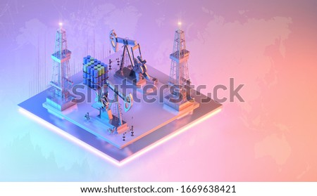 Saudi Arabia vs Russia oil price war. Oil price crashing, downtrend charts isometric background with 3D oil drilling derrick pumps drill rigs, oil, gas industry stock exchange market price data design