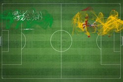 Saudi Arabia vs Spain Soccer Match, national colors, national flags, soccer field, football game, Competition concept, Copy space