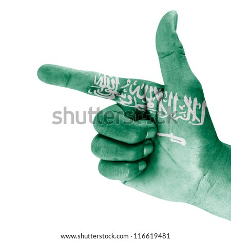 Saudi Arabian flag drawn on shooting hand gesture with white background.