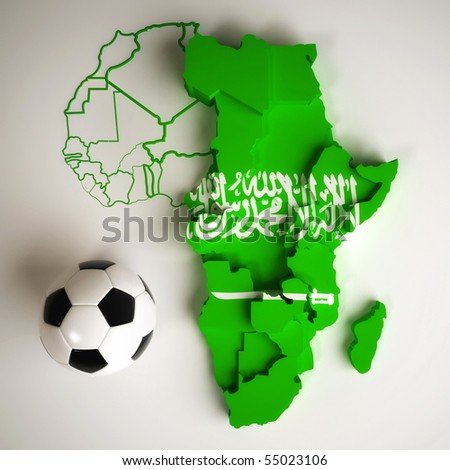 Saudi Arabian flag on map of Africa with national borders