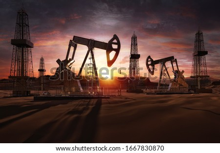 Saudi price war, oil market prices drop concept. Oil pumps, drilling derricks from oil field silhouette at sunset. Crude oil industry, petroleum production 3D background with pump jacks, drill rigs Stockfoto ©