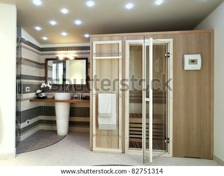sauna in modern bathroom