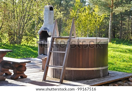 Sauna pool with rest area outdoor near the forest