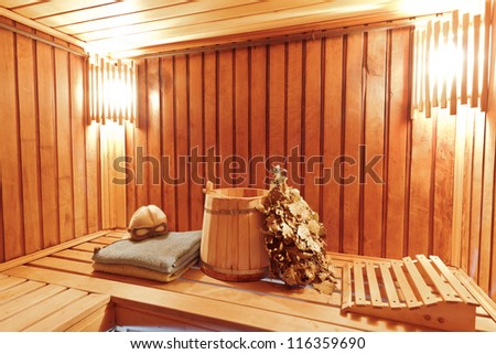 Sauna ready accessories - broom, tub, poltenets and scoop