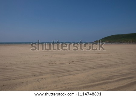 Saunton Sands beach on a sunny day in the summer. North Devon, United Kingdom #1114748891