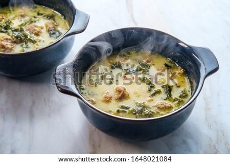 Sausage and kale zuppa toscana italian creamy soup Zdjęcia stock ©