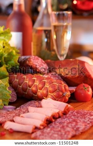 Sausage and wine. Still-life