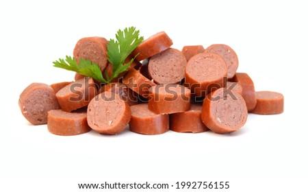 Sausage, breakfast on white background