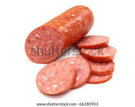 Sausage cut by slices on a white background