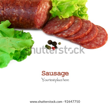 Sausage, greens and spices. On white background. There is place for your text.