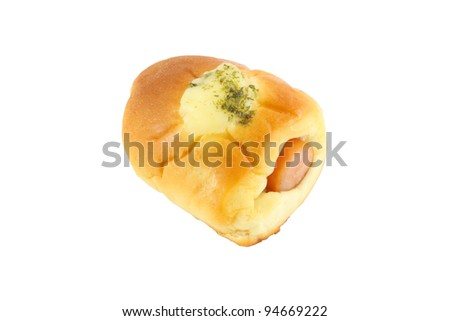Sausage in bread and cheese on white background.