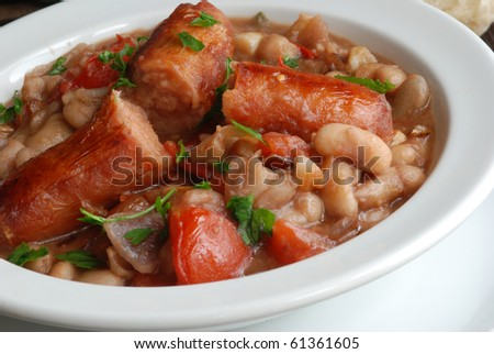 Sausage in cannellini bean sauce