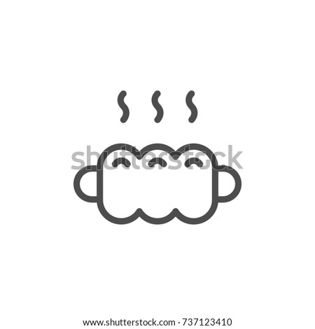 Sausage in dough line icon isolated on white