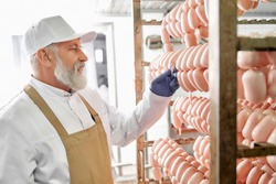 Sausage meat factory production worker. Sausages hanging in row. Elderly worker observing and checking, testing sausages. Man in white uniform, white cap, brown apron, rubber gloves.