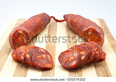 sausage of pork cut in slices
