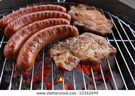 Sausages and Meat on the Barbecue Grill