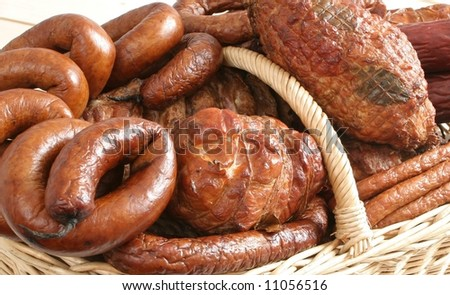 Sausages and other cold meats in the basket