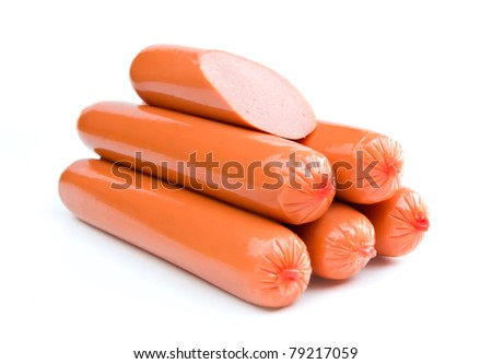 Sausages are isolated on a white background