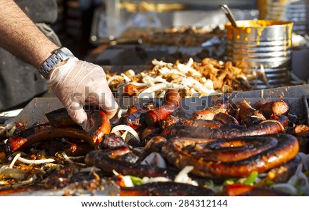 Sausages at a summer outdoor event