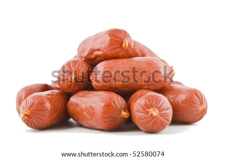 sausages on an isolated white background