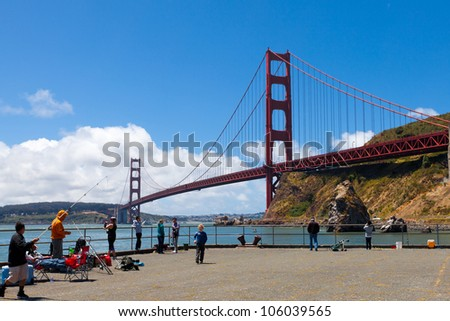 SAUSALITO, CA - JUNE 24:Fishing pier at Fort Baker in Sausalito, CA June 24, 2012. The pier at the Golden Gate Bridge is called one of the best in the state for king salmon and the season has opened.