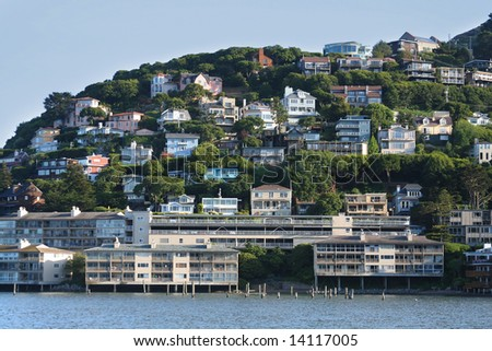 SAUSALITO HILLSIDE HOMES Across the Golden Gate Bridge from San Francisco - stock photo