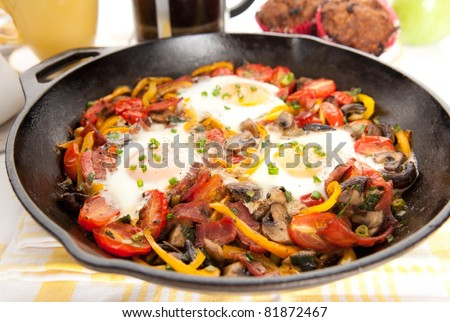 Sauteed Vegetables and Three Eggs Omelet for Healthy Breakfast - stock photo
