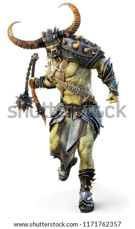 Savage Orc Brute leader running into battle wearing traditional armor and equipped with a flail  . Fantasy themed character on an isolated white background. 3d Rendering