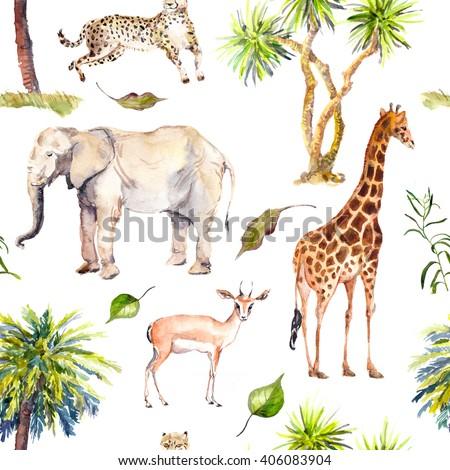 Savannah animals (giraffe, elephant, cheetah, antelope) with palm trees. Zoo seamless pattern. Watercolor