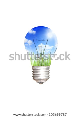 save energy concept with light bulb,  green grass, sun ,sky and clouds ecological environment isolated on white