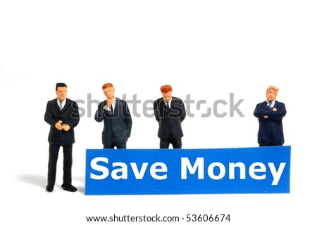 save money business or finance concept with toy business man isolated on white