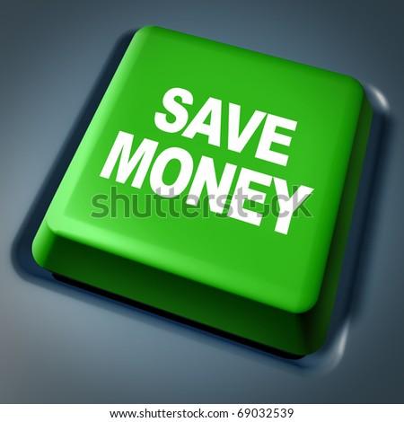 Save Money green button computer key internet savings online specials