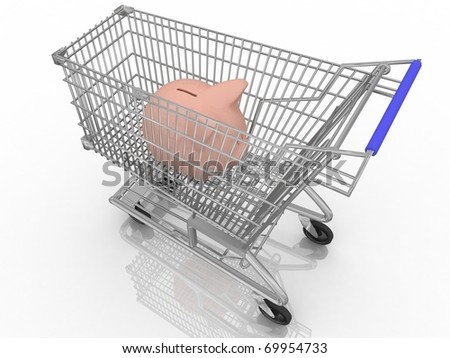 save money shopping concept with piggy bank in a shopping cart