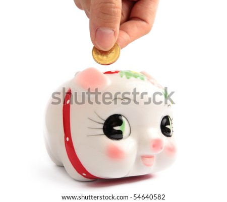 save money to chinese style piggy bank