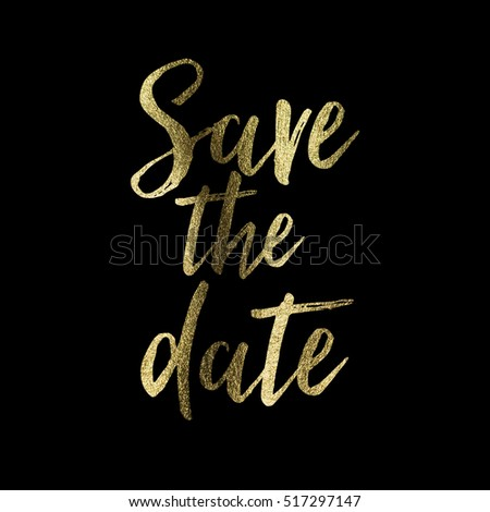 Save the date gold glitter lettering