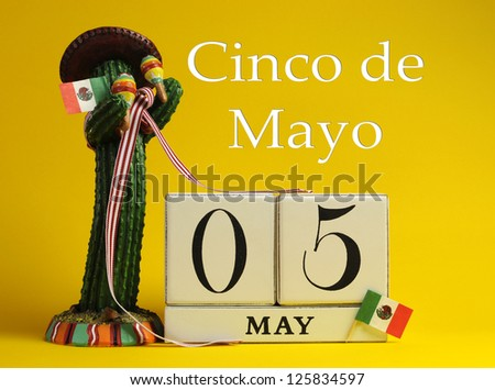 Save the date white block calendar for Cinco de Mayo, May 5, with fun Mexican cactus and flags against a yellow background.