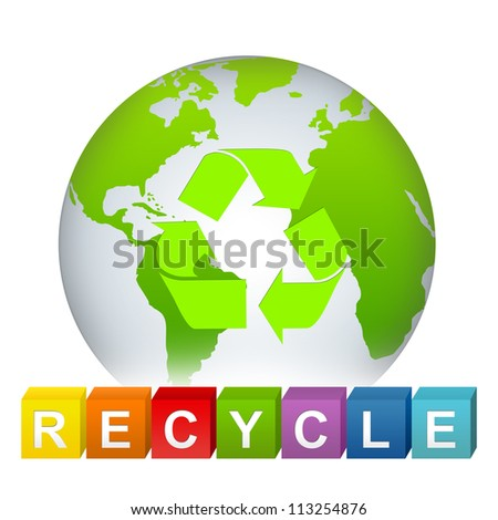 Save The Earth and  Recycle Concept Present By Green Globe With Green Recycle Sign Inside and Colorful Recycle Cube Isolate on White Background
