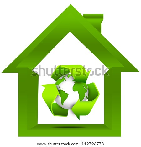 Save The Earth and Recycle Concept Present By The Green Recycle Sign Around The Earth Inside The House Isolated on White Background