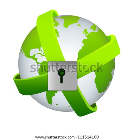 Save The Earth and Security Concept - Green Earth Surrounded By Green Band With The Lock Isolated on White Background