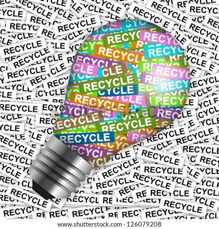 Save The Earth Concept Present By Colorful Recycle Label in Light Bulb in Recycle Label Background