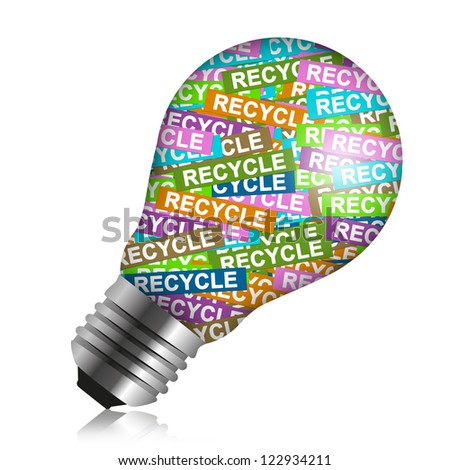 Save The Earth Concept Present By Colorful Recycle Label in Light Bulb Isolated On White Background