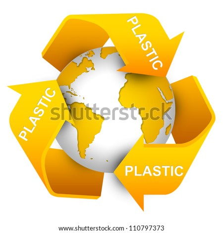 Save The Earth Concept Present By Yellow Recycle Sign For Plastic Waste Around The Earth Isolate on White Background
