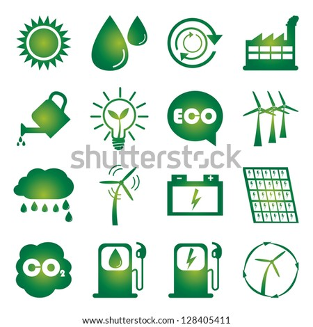 Save The Earth or Ecology Concept Present By Green Ecology Icons Set Isolated on White Background - stock photo