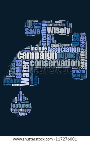 Save the water campaign in word collage