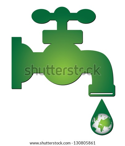 Save Water Concept Present By Green Water Tap and Water Droplet With The Green Planet Earth Inside Isolated on White Background