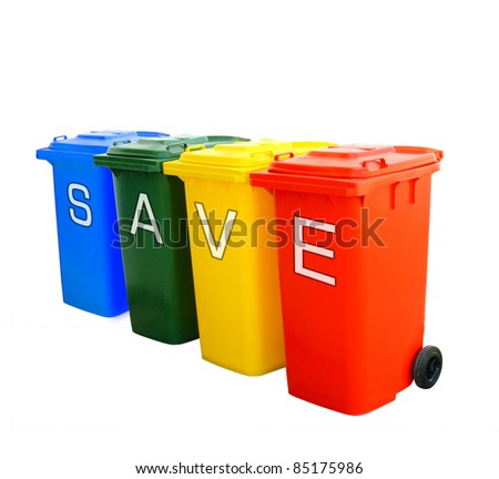 save wording on colorful recycle bins isolated