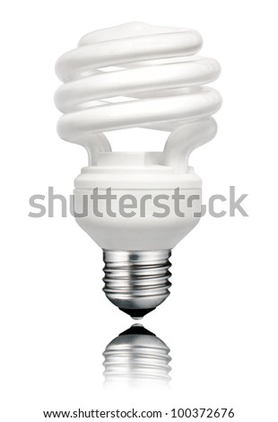 Saver Lightbulb with Screw Bottom and Reflection Isolated on White Background. Energy Saving Bulb